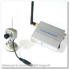 Комплект из цветной миниатюрной беспроводной камеры 2,4Ghz с ИК подсветкой + аналоговый приемник сигнала